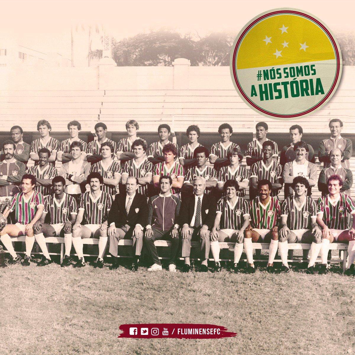 Em 21 de junho de 1984, há exatos 34 anos, quatro jogadores do Fluminense - que havia acabado de se sagrar Campeão Brasileiro - entravam em campo vestindo a camisa da Seleção na vitória por 1 a 0 sobre o Uruguai: Jandir, Deley, Assis e Tato. #NósSomosAHistória