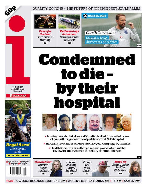 Thursday's i: Condemned to die - by their hospital #tomorrowspaperstoday #bbcpapers via @MsHelicat https://t.co/tXACRQPPoi