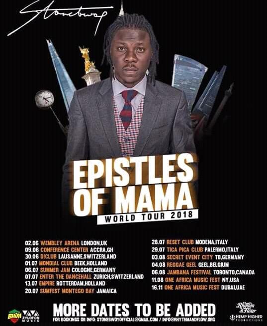#EpilesOfMama World Tour by @stonebwoyb coming to a venue near you #EOM  @ZylofonMedia <br>http://pic.twitter.com/XvOmLrIUMS