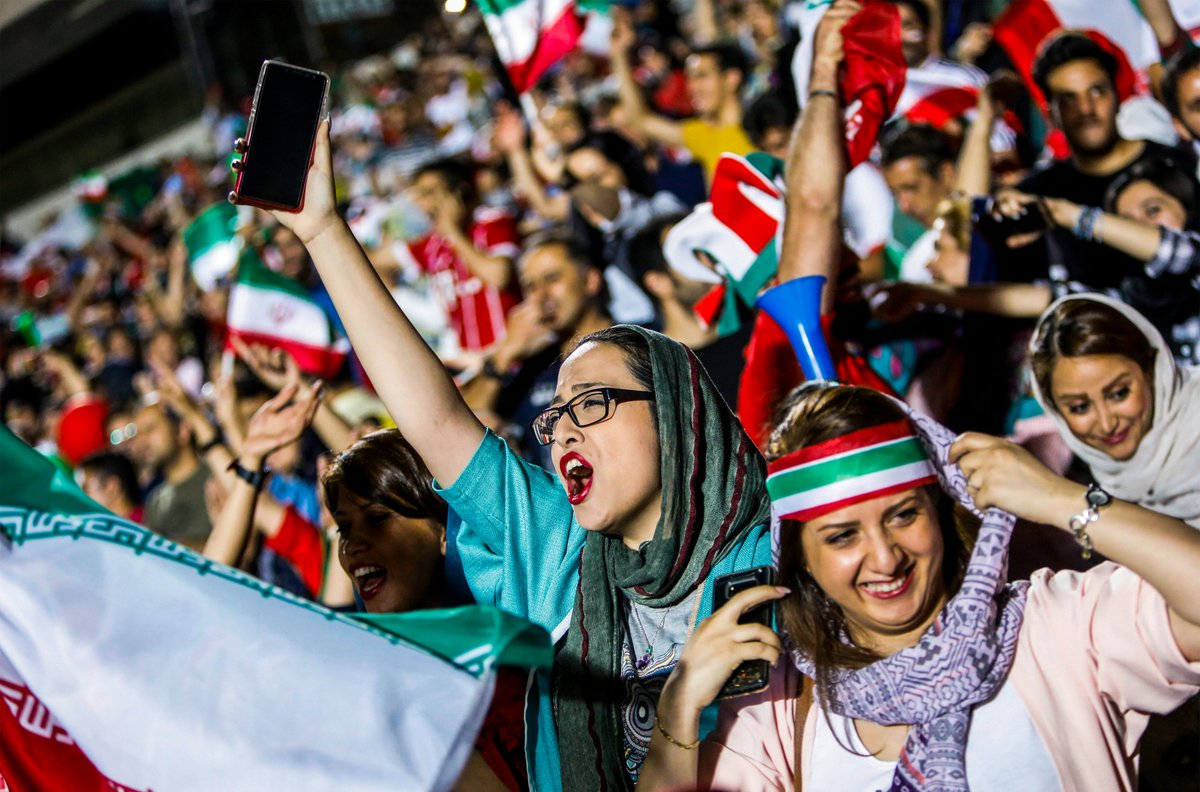 Female fans were allowed into Tehran's Azadi stadium for the first time since 1979 today to watch Iran vs. Spain 🙌🇮🇷