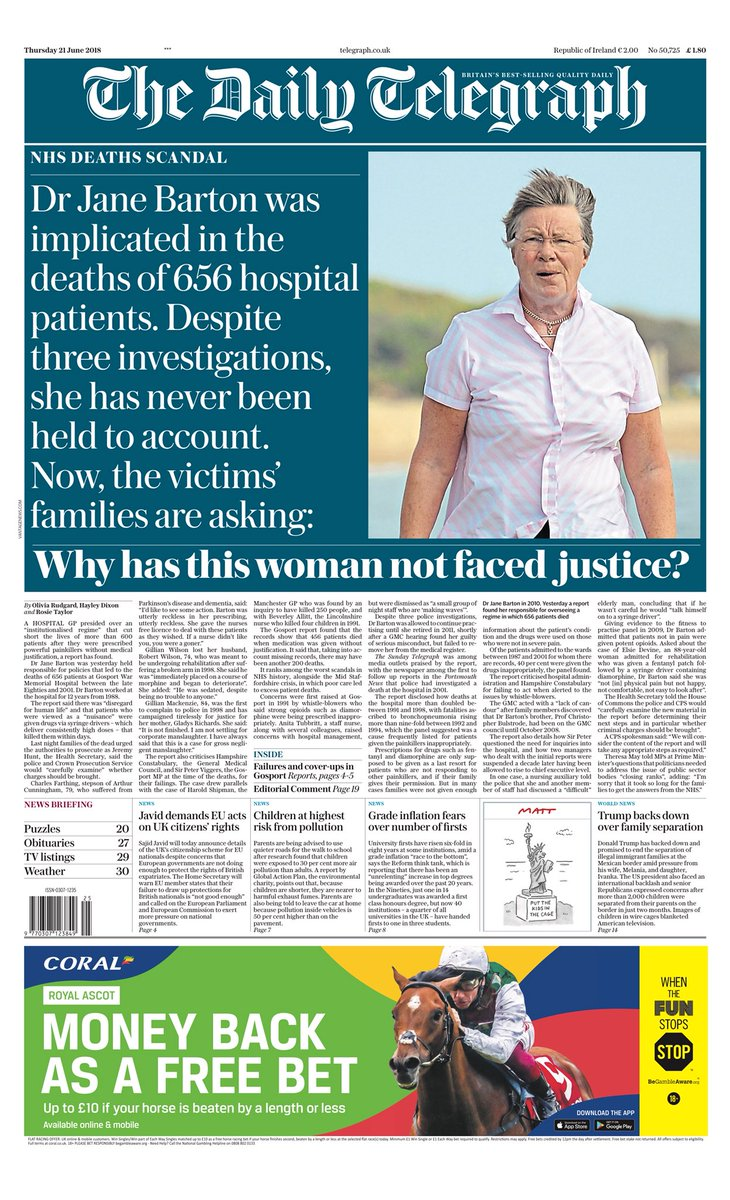 Thursday's Telegraph: Why has this woman not faced justice? #tomorrowspaperstoday #bbcpapers via @MsHelicat https://t.co/LpkSycEWXb
