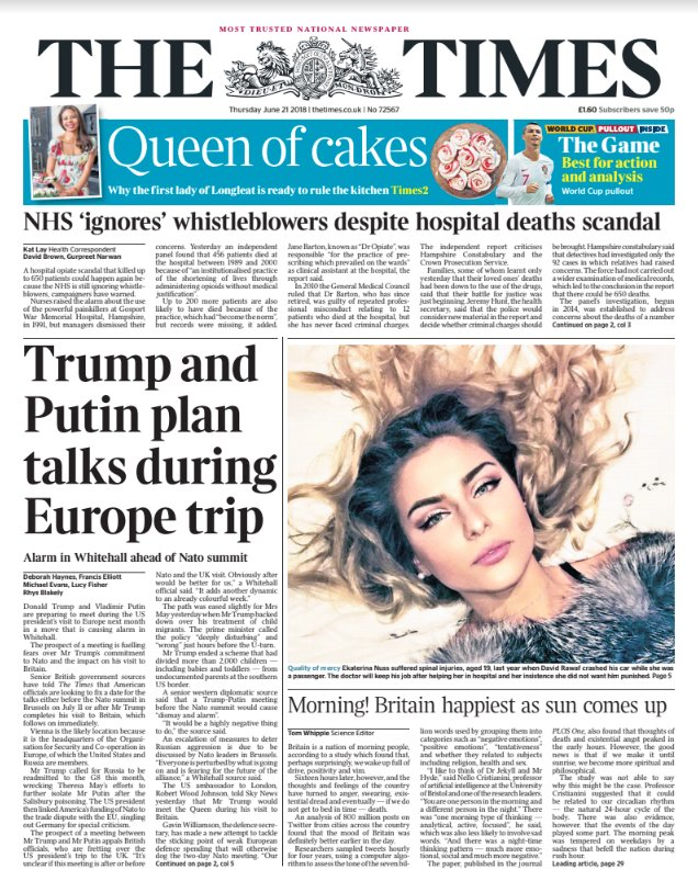 Tomorrow's front page: Trump and Putin plan talks during Europe trip #tomorrowspaperstoday