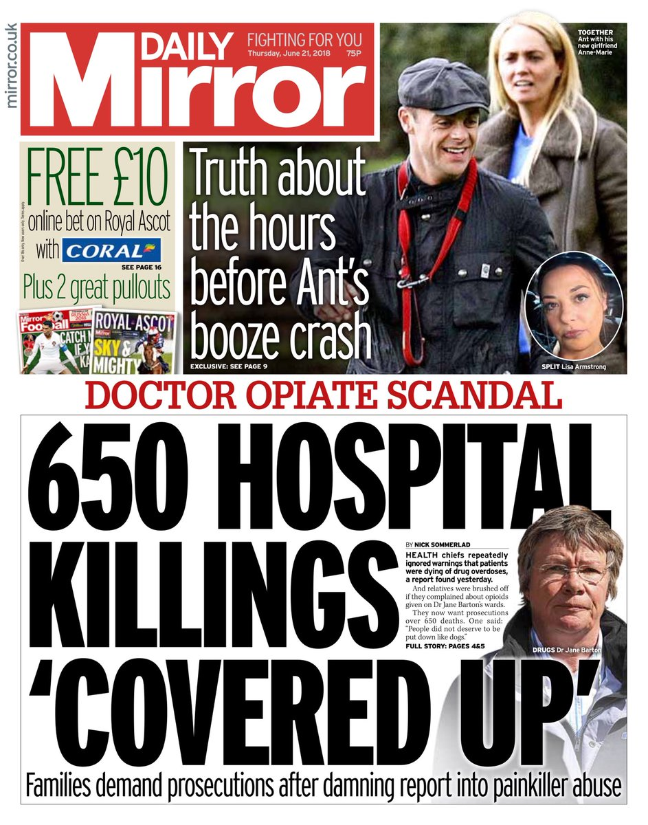 Thursday's Mirror: 650 hospital killings 'covered up' #tomorrowspaperstoday #bbcpapers via @MsHelicat  https://t.co/uDozQup2cy