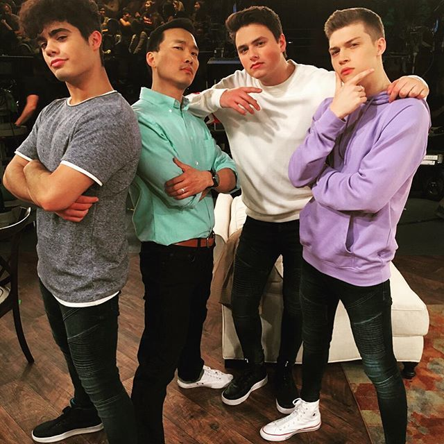 Living that boy band life with @officialfiym. Future collab will include hit singles &quot;Get Off My Lawn&quot; and &quot;Uphill Both Ways.&quot; #alexaandkatie #fiym #albumcover  https:// ift.tt/2yDkzx1  &nbsp;  <br>http://pic.twitter.com/Fvzgc10NAP