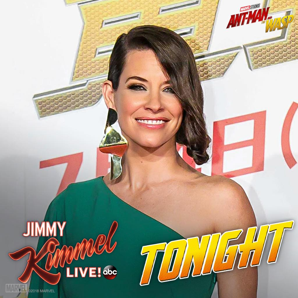 Tune in to @JimmyKimmelLive tonight to see @EvangelineLilly! #AntManAndTheWasp https://t.co/aRmbCbTgRT
