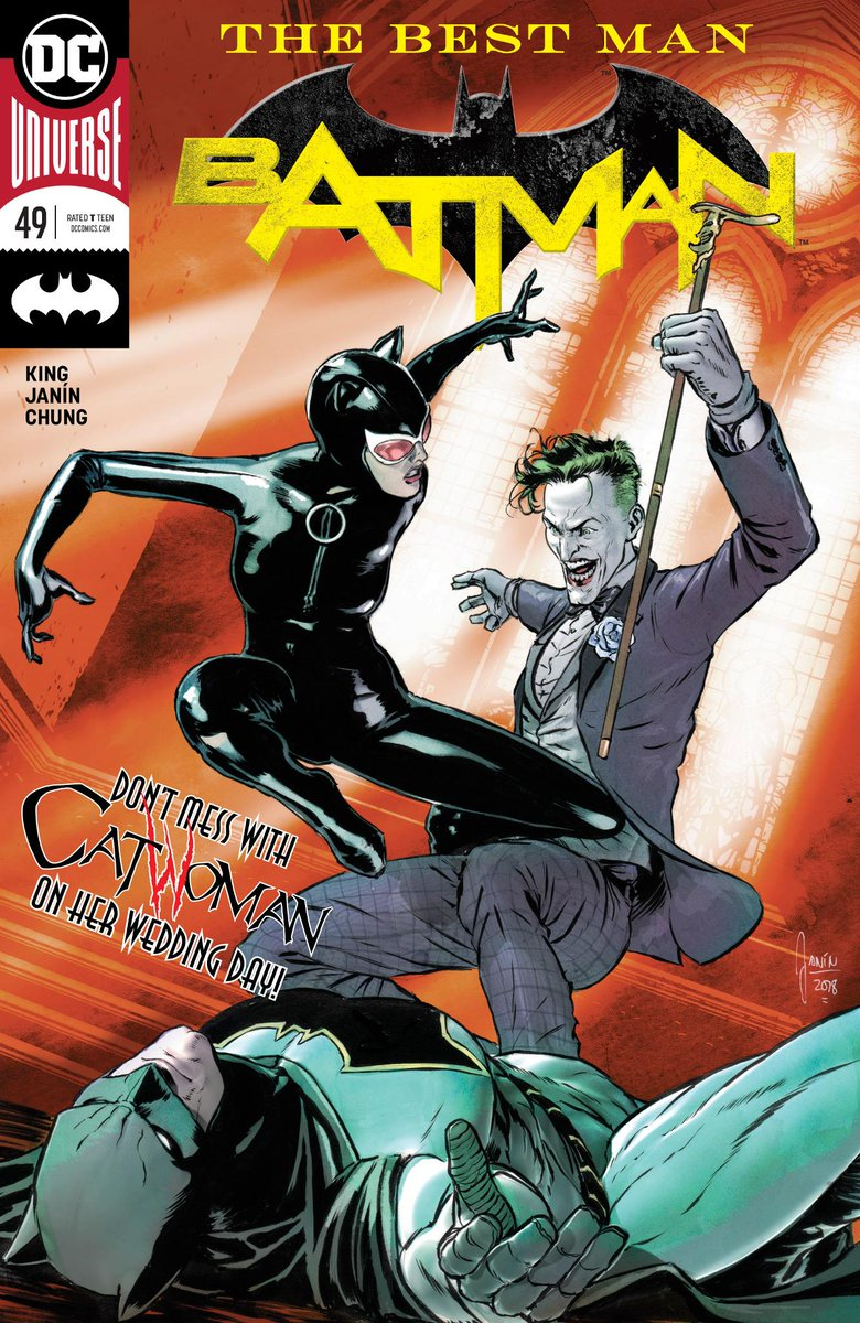 Remember the old times, Selina? The Joker brings Catwoman on a violent trip down memory lane before her wedding day in BATMAN #49, available now: bit.ly/2K1dWZC