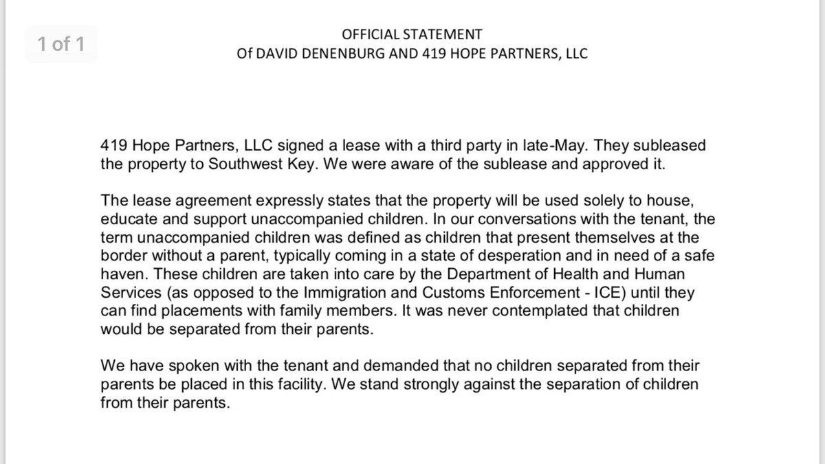 Breaking = Owner of 419 Hope Partners (419 Emancipation Ave., proposed facility for immigrant children) says he has demanded that no kids separated from their parents be placed there. See statement below for more details: