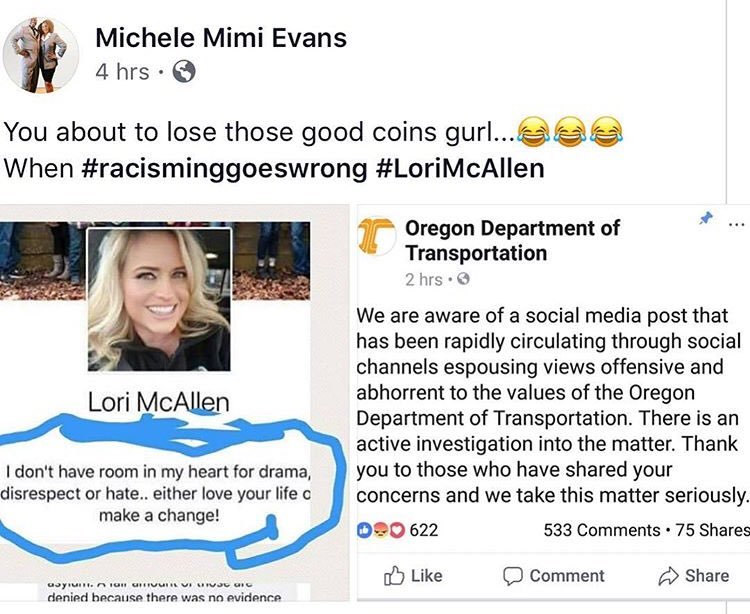 @OregonDOT I call for the immediate dismissal of #LoriMcAllen this horrendous post is an abomination. Remember we are all immigrants, like her ancestors before her we all came her in a ship, boat, car or airplane. #StopRacism<br>http://pic.twitter.com/LWWtOO2Pip