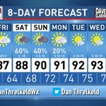 Image for the Tweet beginning: Rain chances increasing for late