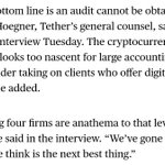 Image for the Tweet beginning: Tether Hired Former FBI Director's