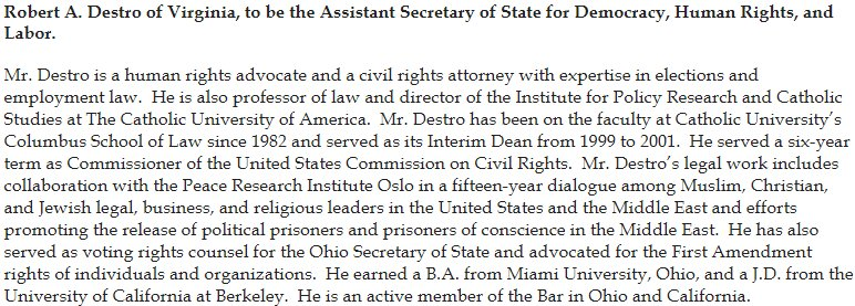 NEW: Pompeo continues to move to fill top ranks at State Dept. WH announces nom of Robert Destro as Asst Sec of State for Democracy, Human Rights, &Labor--currently director of Catholic University's Institute for Policy Research &Catholic Studies https://t.co/7q2LY22Rd7
