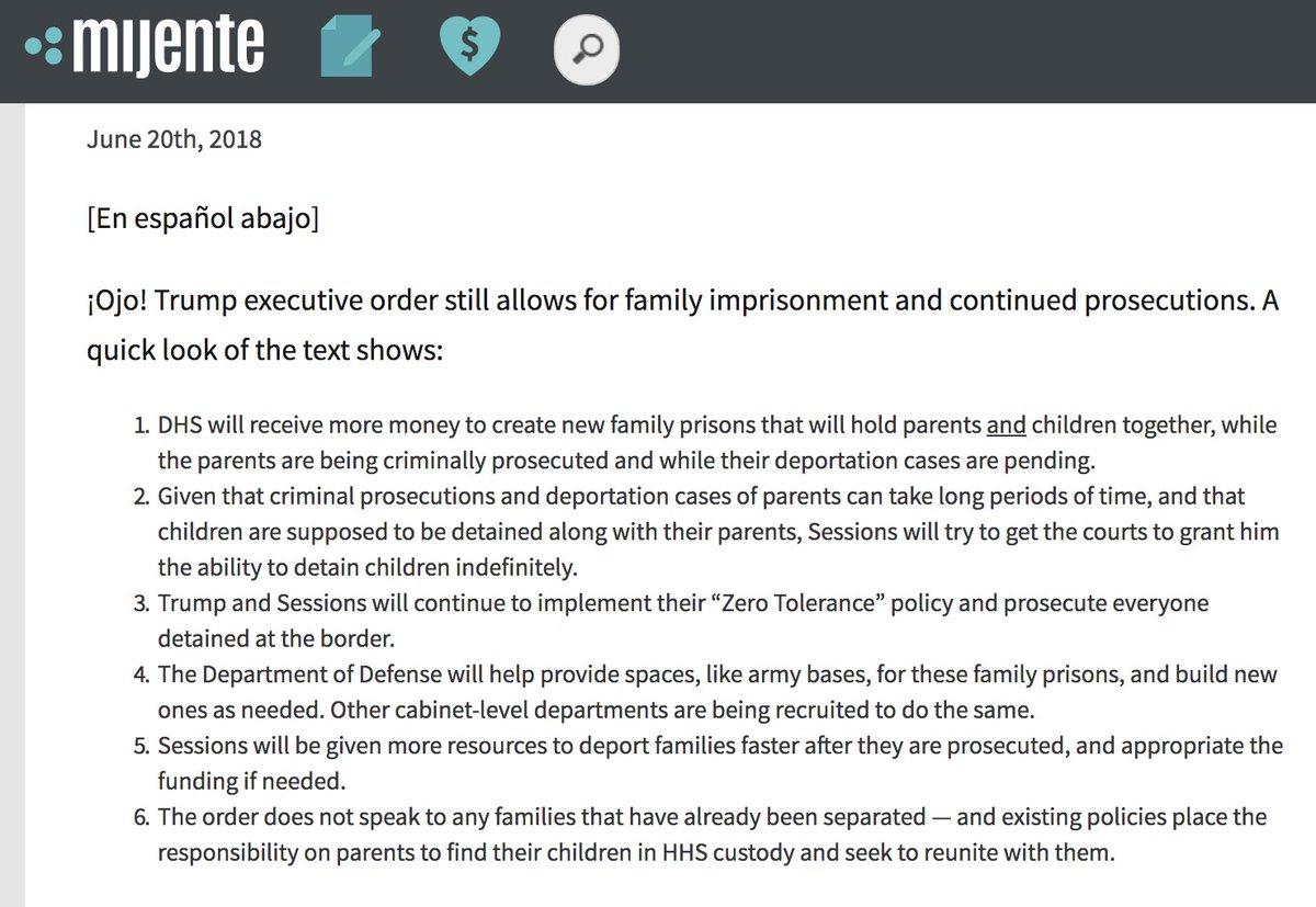 #itsnotover @ConMijente explains what 45's exec order still means: #FamilyJails!  https://www. mijente.net/2018/06/20/eo/    <br>http://pic.twitter.com/WzXY9e5Dph