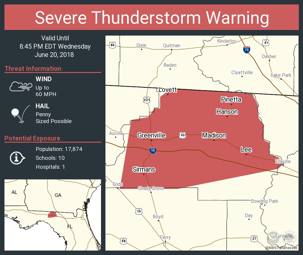Greenville Florida Map.Nws Tallahassee On Twitter Severe Thunderstorm Warning Including