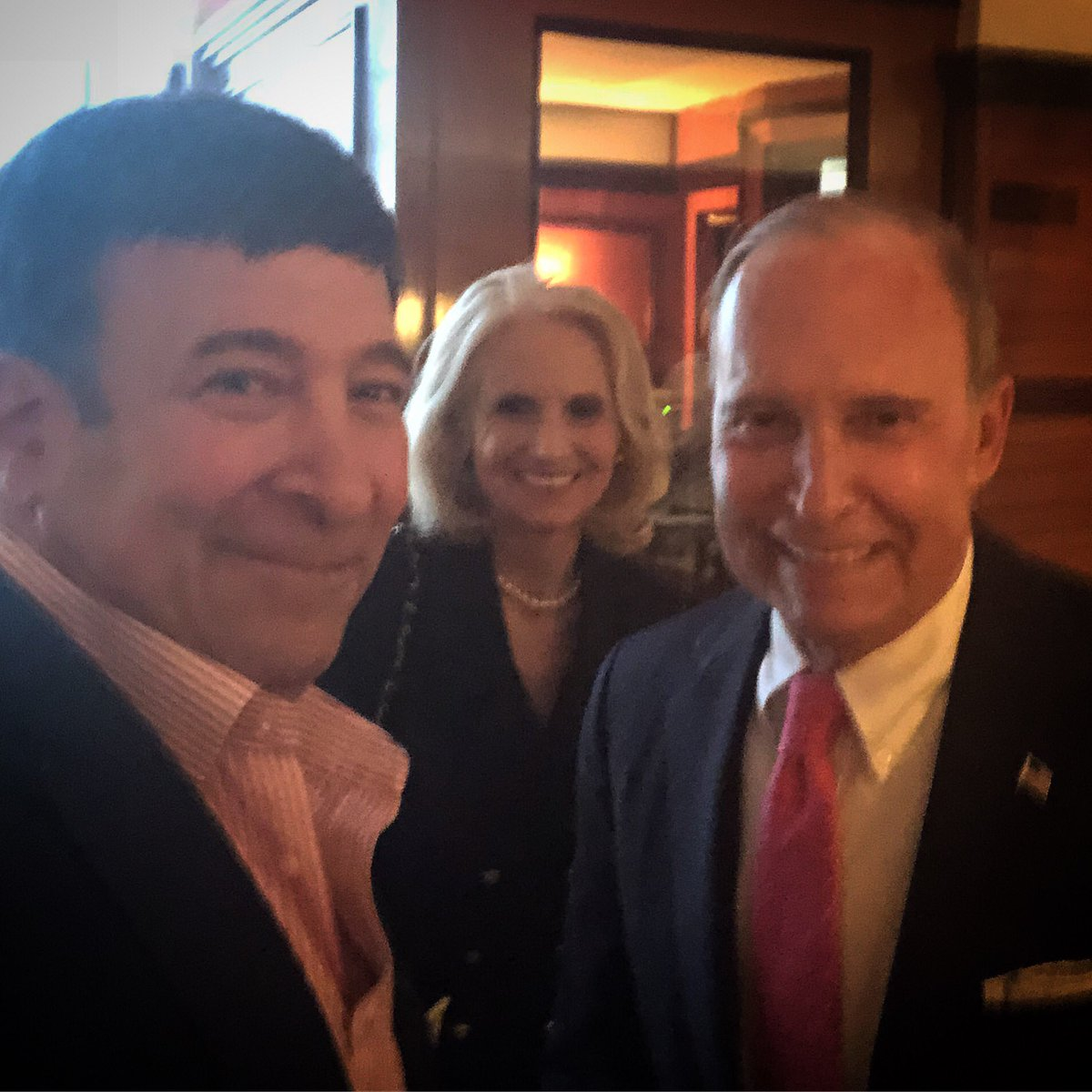 Dinner with Judy and Larry Kudlow. Larry's back in action, all better and feeling great.