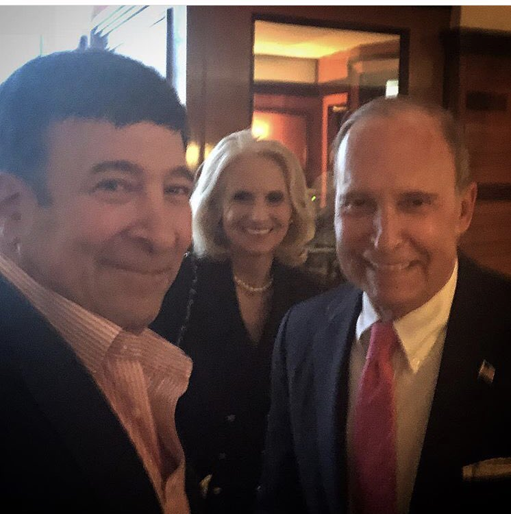 Larry Kudlow out in NYC with his wife and @MarkSimoneNY Heart attack was only 9 days ago. Glad to see him back in action