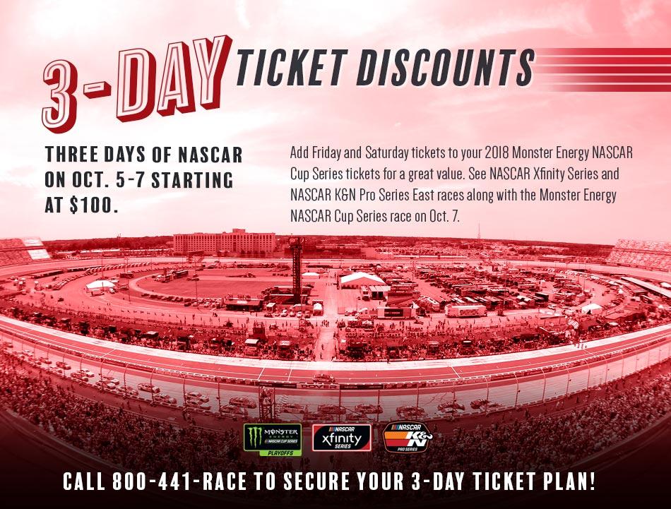 3️⃣ days of #NASCAR action 1️⃣ low price!  https://t.co/h7tVQlc1iL