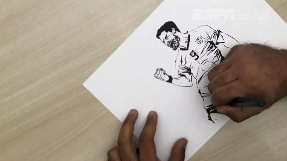 Gol histórico de Suárez é destaque nas mãos de artista dos canais ESPN #ESPNnaRussia Foto