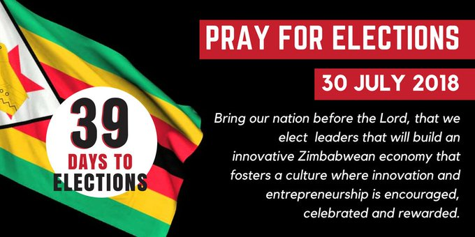 Prayer for Zimbabwe 39 Days of #Elections Bring our nation before the Lord, that we elect leaders that will build an innovative Zimbabwean economy that fosters a culture where innovation and entrepreneurship is encouraged, celebrated and rewarded. Photo