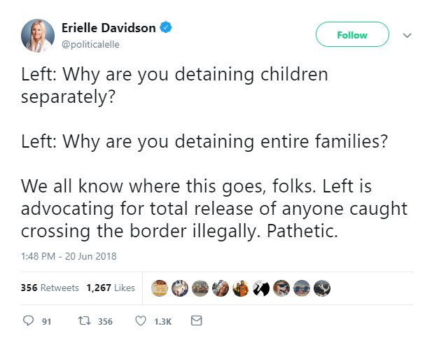 First you say you dont want children and babies in prison *without* their parents. Next you say you dont want children and babies in prison *with* their parents. Okay liberals, Im beginning to suspect that you just dont want children and babies in prison *at all*.
