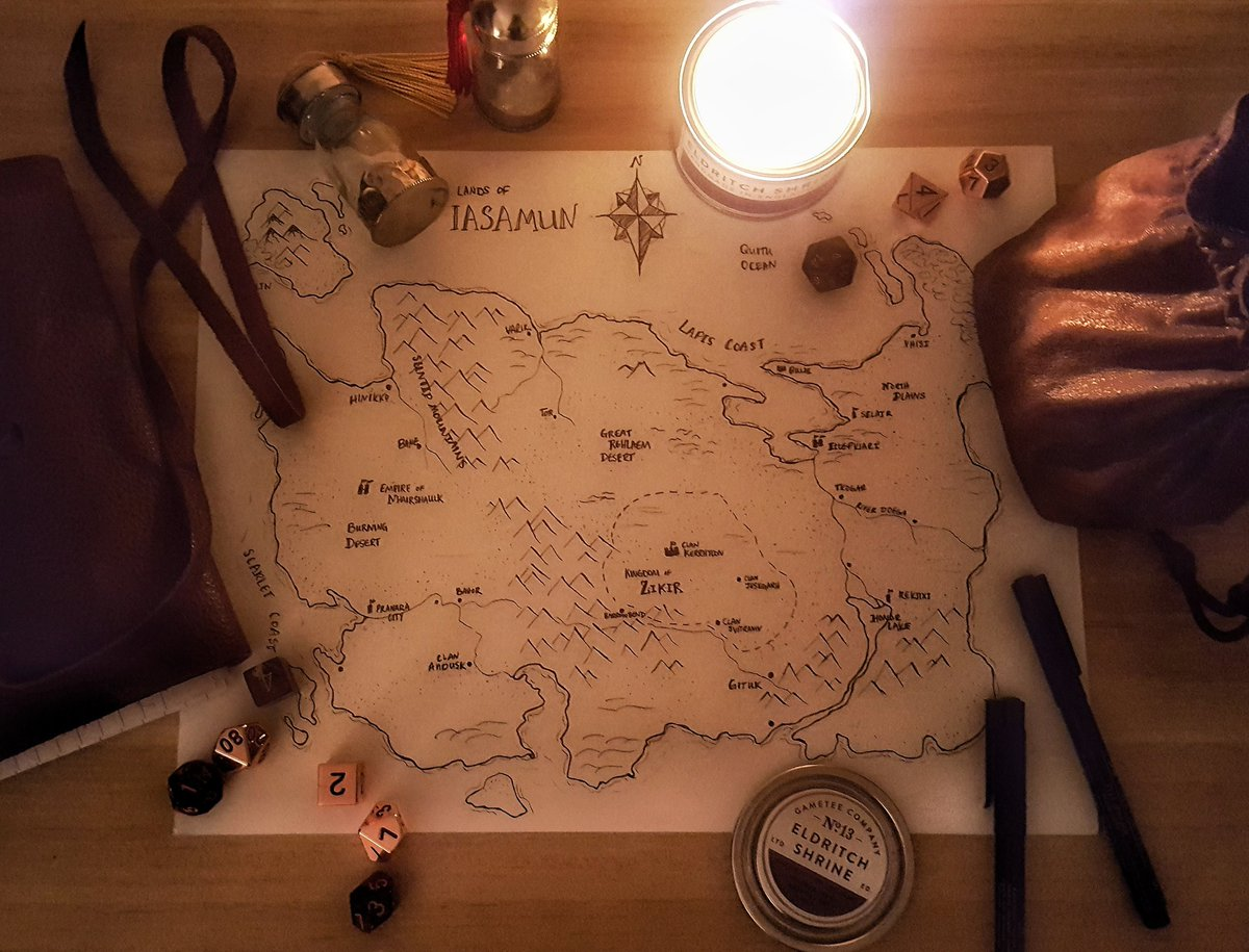 A world takes form, working by the light of @gameteeuk candles As @mattcolville would say, the map should make the conflict #cartography #rpgmap<br>http://pic.twitter.com/RzMHyaXi3x
