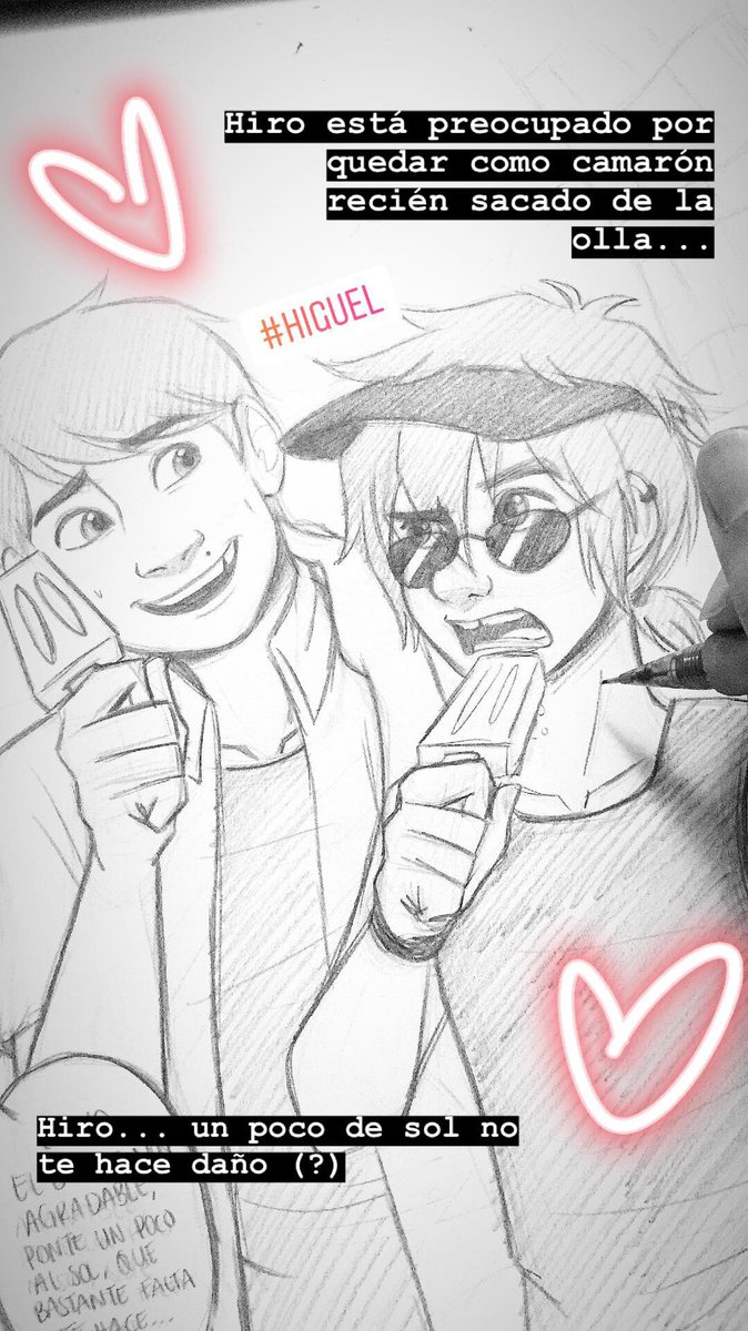 Hiro is worried of ending up like a freshly cooked shrimp with all the summer sun.... Hiro a little bit of sun shine will not kill you 'v' #higuel #Hiroguel #HiroxMiguel #summer #wip #WorkinProgress #traditionalart #sketching<br>http://pic.twitter.com/mSolfaNaMN