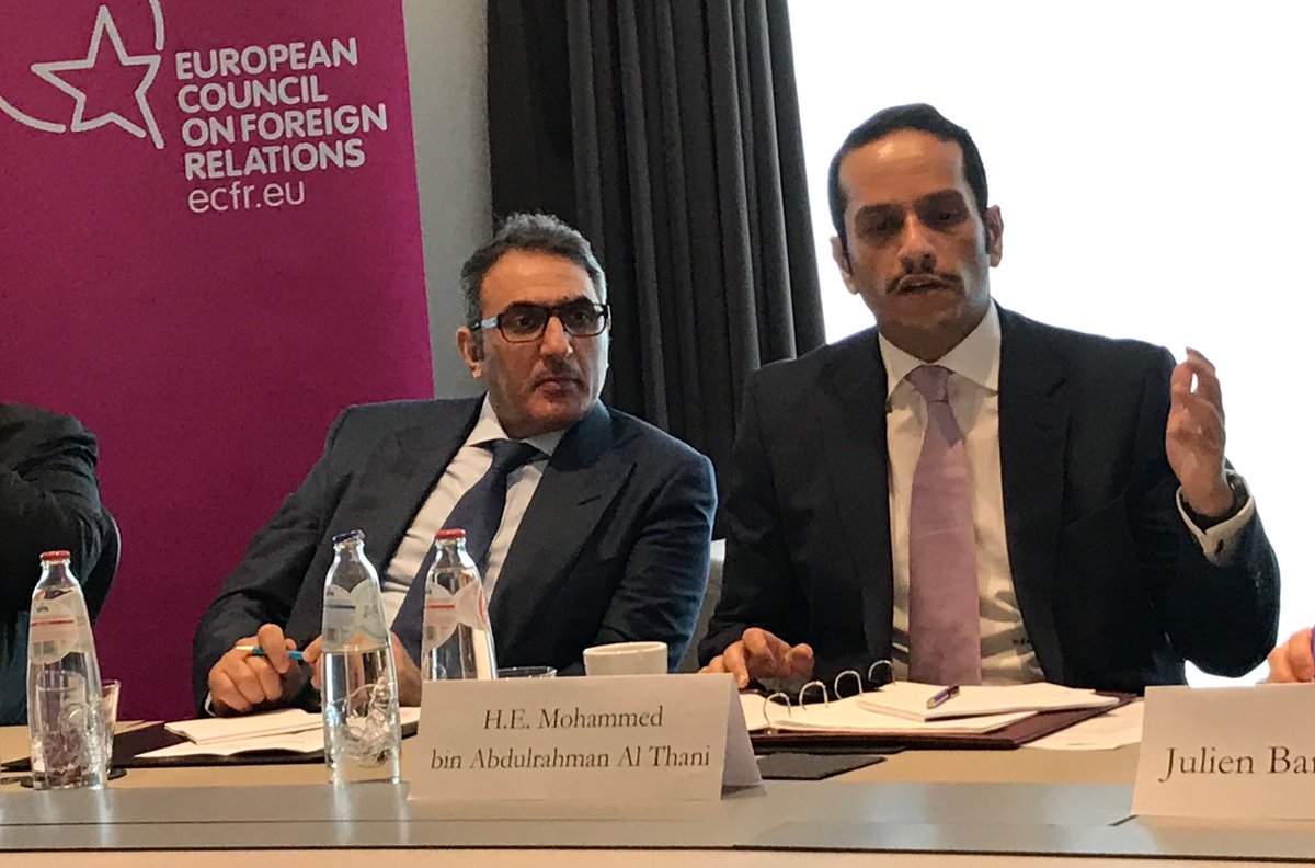 Useful discussion w/ Qatari FM Al Thani organized by @ecfr. Encouraging information about cooperation with @ilo on migrant workers & overall commitment to multilateralism. Deep concerns re ongoing Gulf crisis & multiple crises in the region. @SwedenInDoha
