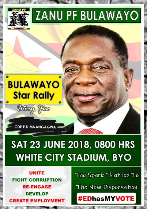 We welcome the to the soon be Industrial hub (once again) Bulawayo is already roaring with anticipation for A ZIMBABWE WE WANT.#EDhasMyVote Photo
