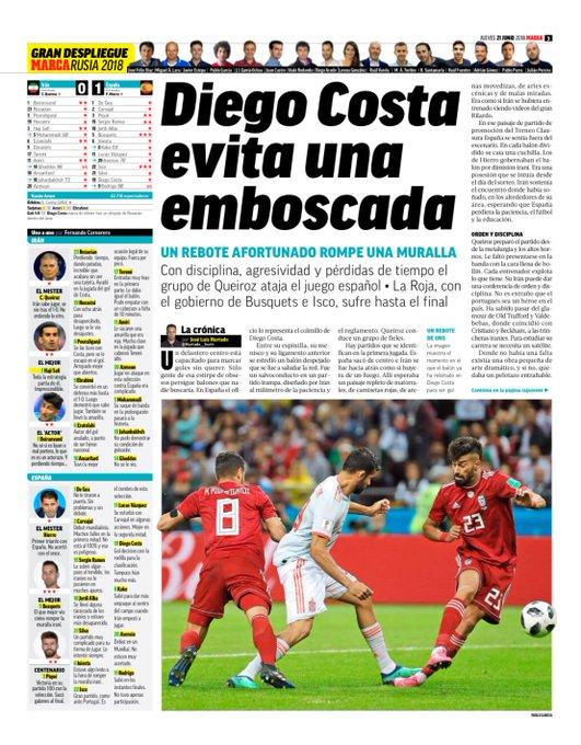 """MARCAs hurtige analyse af Spaniens sejr over Iran: """"En heldig rebound slog hul på muren. Spanien, der blev styret af Busquets og Isco led lige til det sidste"""" 🇪🇸🤕⚽️ #VM2018 @OddsetDK Photo"""
