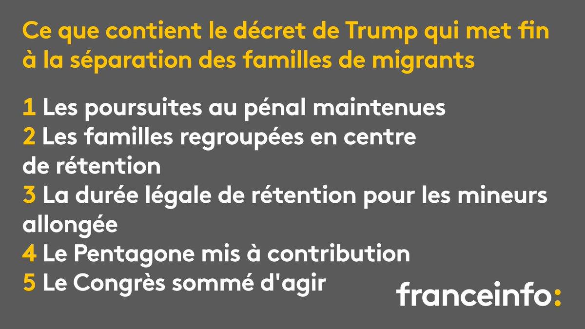 Donald Trump a signé mercredi 20 juin un décret pour mettre fin à la crise des familles de clandestins séparées à la frontière entre Etats-Unis et Mexique. Que contient ce texte ?  https://t.co/VXd3b9sGf9