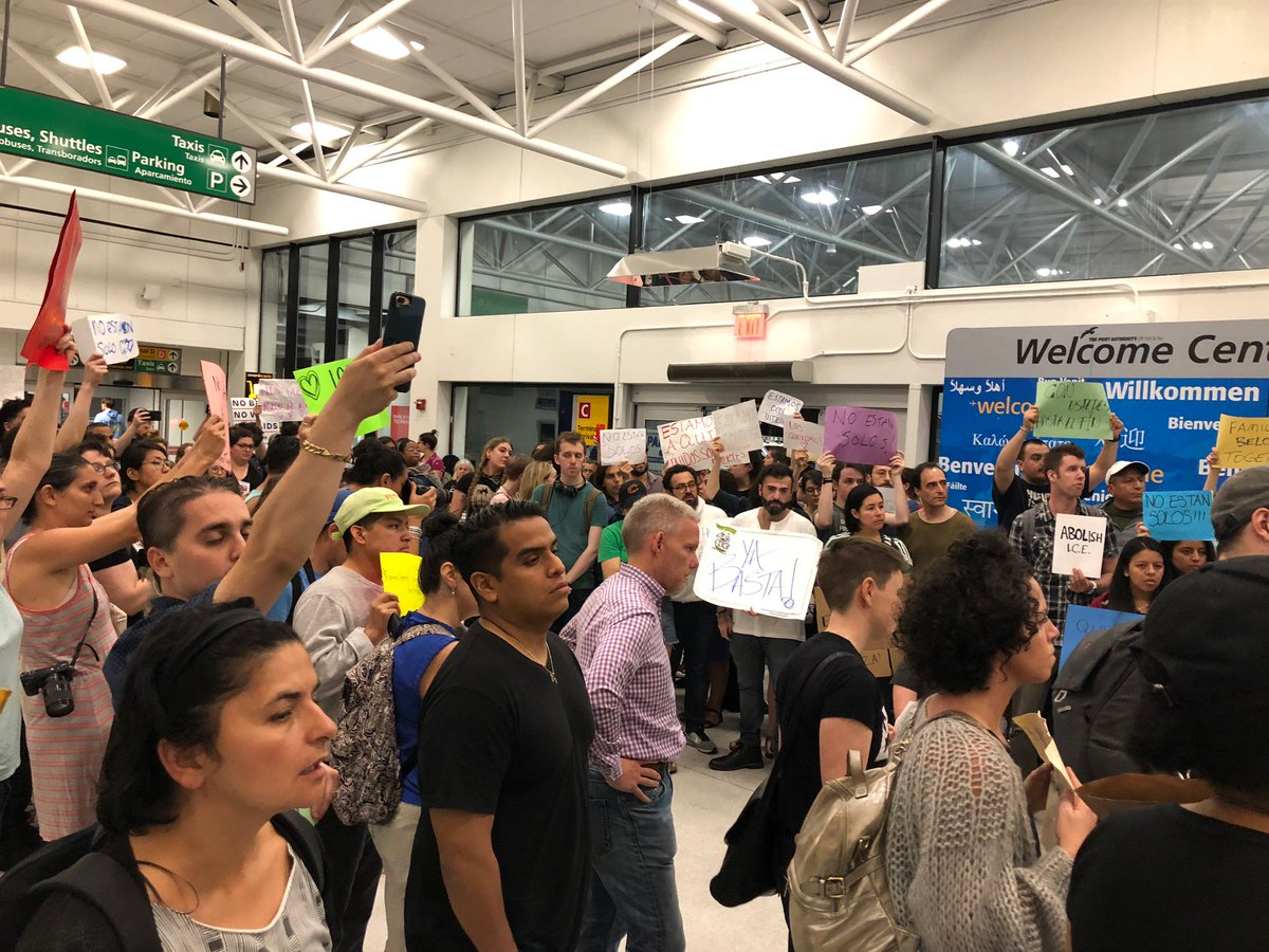 It's now 1:53am here in NYC and the crowd at LaGuardia is standing strong to say #FamiliesBelongTogether