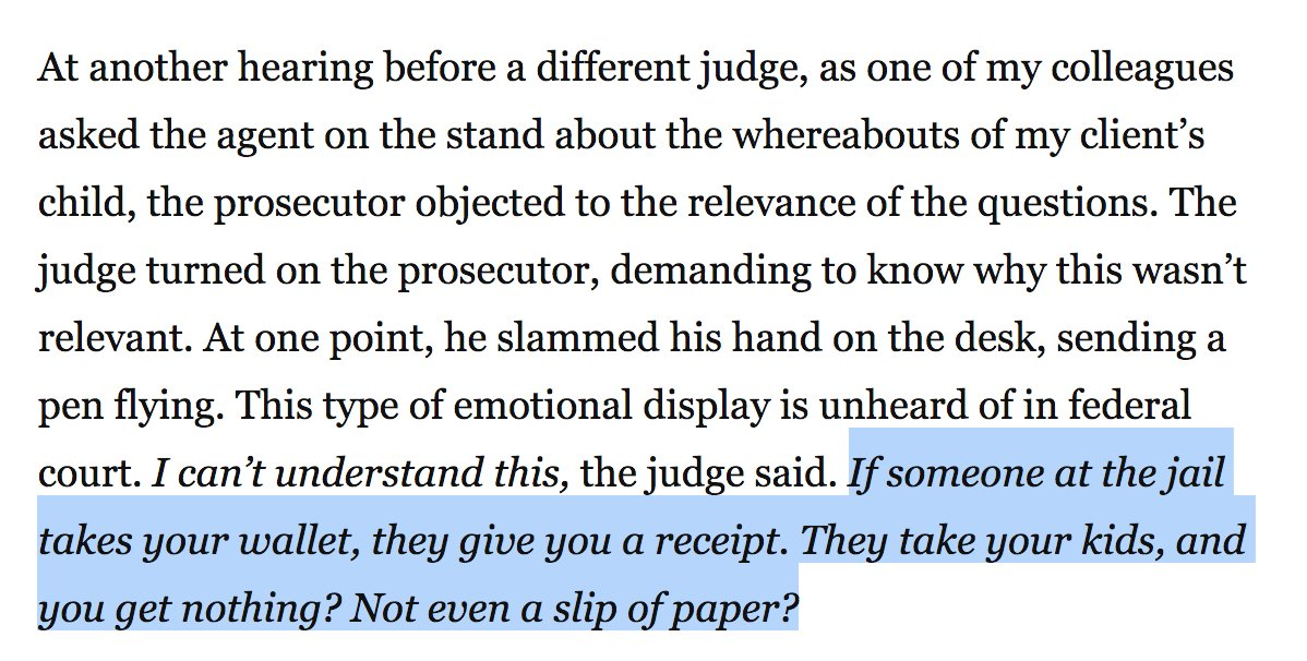Texas Judge: 'I can't understand this. If someone at the jail takes your wallet, they give you a receipt. They take your kids, and you get nothing? Not even a slip of paper?' https://t.co/oo7oLl2L2w