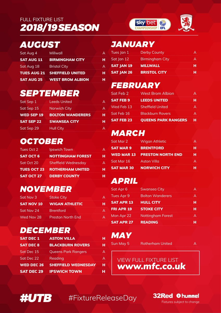 Here it is - #Boros @SkyBetChamp fixture list for 2018/19 🗓️⚽️ #UTB #FixtureReleaseDay