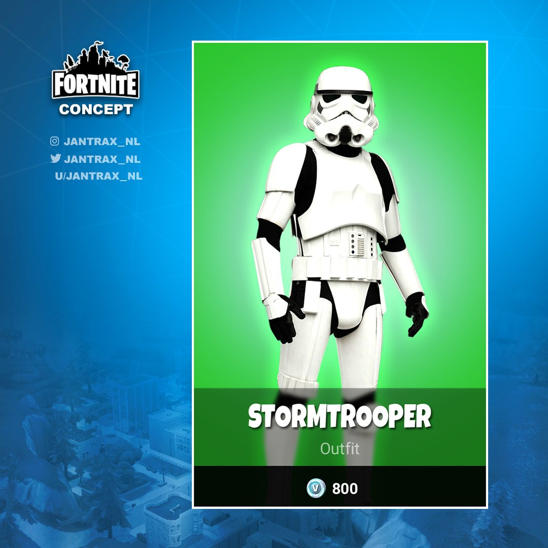 jantrax on twitter what if these two came to fortnite would the stormtrooper always miss his shots and would darth vader need a lightsaber pickaxe - fortnite storm trooper
