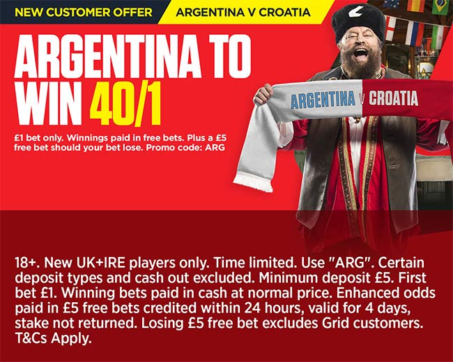 Get 40/1 Argentina to beat Croatia at Ladbrokes + £5 free