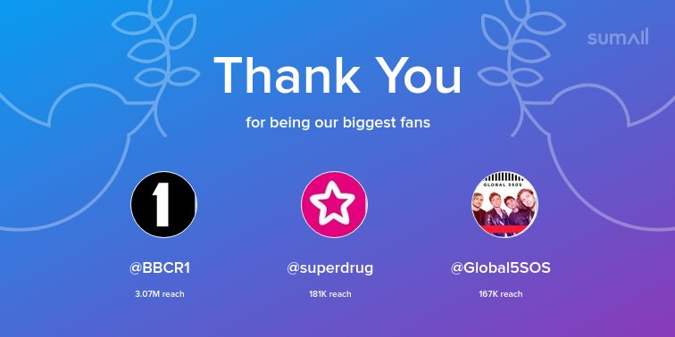 Our biggest fans this week: @BBCR1, @superdrug, @Global5SOS. Thank you! via https://t.co/wT4nCMKzme