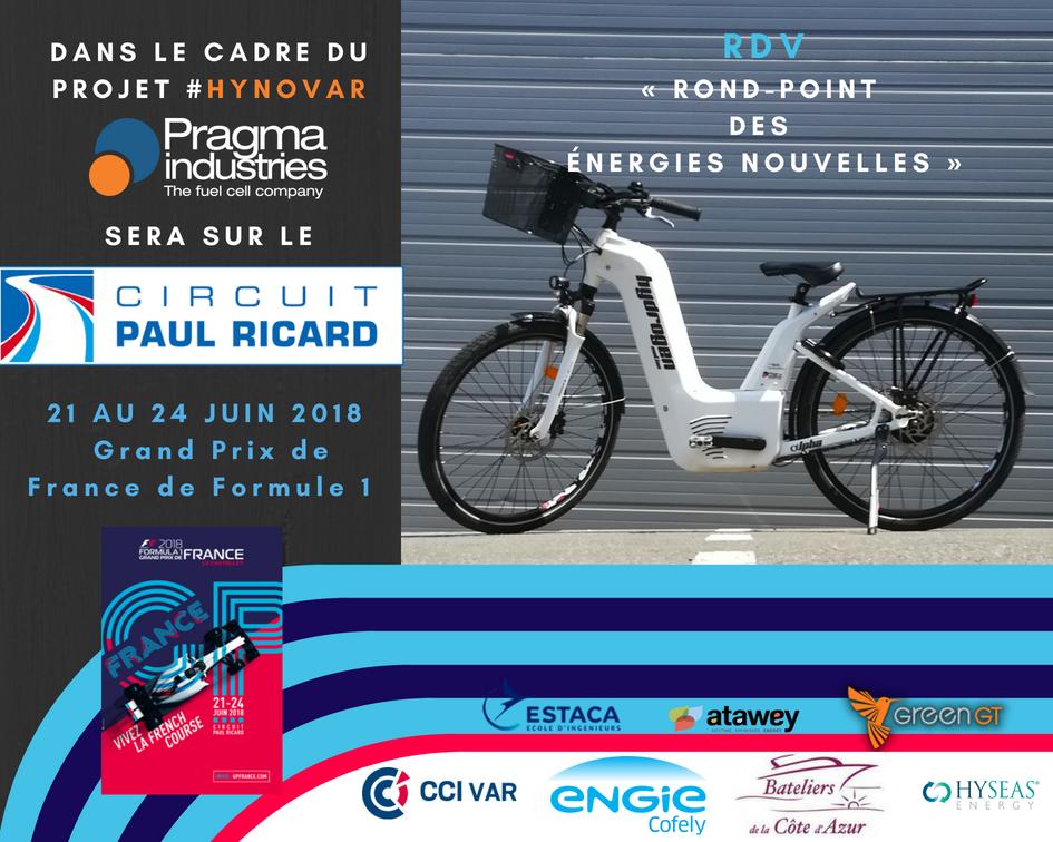 @PragmaFuelCells présentera son vélo ALPHA lors du @GPFranceF1. Projet #Hynovar soutenu par la @CCIduVar,@ENGIE_CofelyFR, @atawey, les Bateliers du Var et @HyseasEnergy. Objectif développer une filière hydrogène sur le @PaulRicardTrack et la zone Portuaire de la @VilleDeToulon