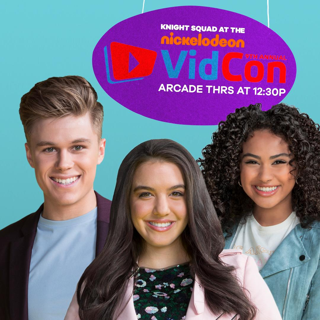 Hang with the coolest #squad at #VidConUS! Come to the arcade at 12:30p TODAY! 🛡 #knightsquad