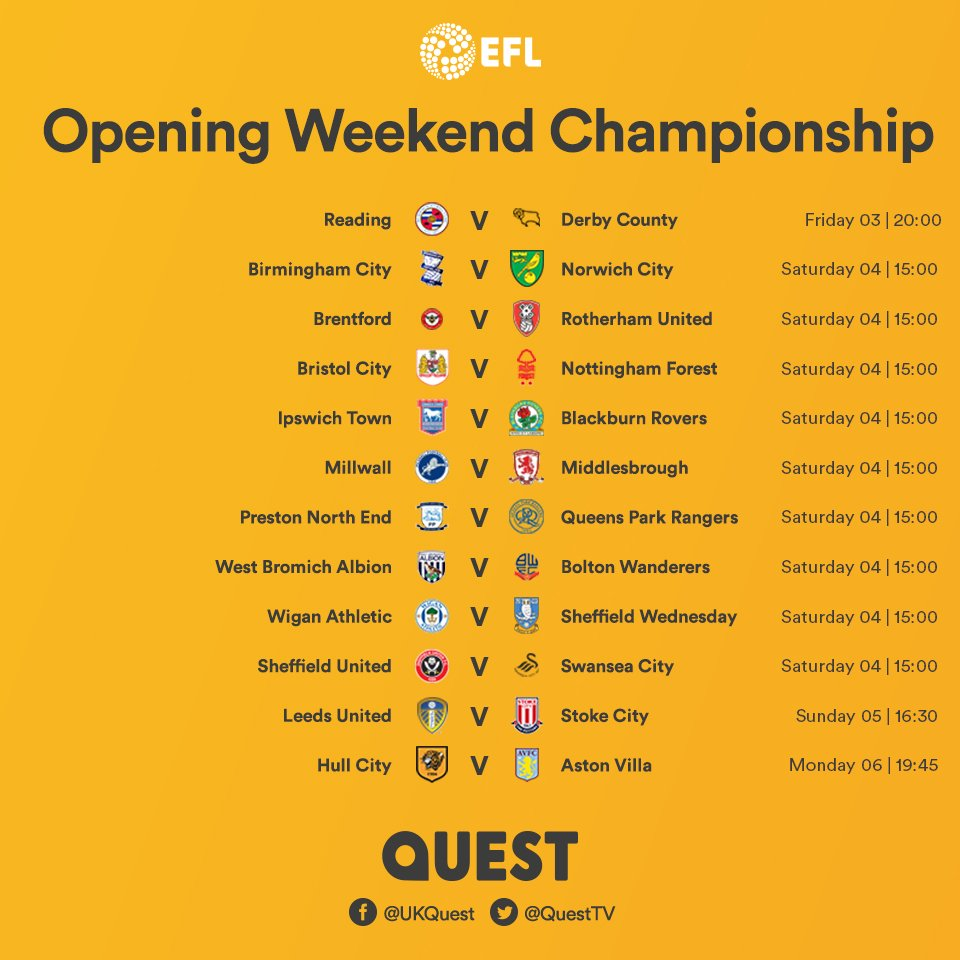 The @EFL fixtures for 2018/2019 are out! Here are the matches for the opening weekend of the season. You can watch all the highlights on our brand new EFL Highlights show, starting on Saturday 4th August, presented by the one and only @ColinMurray. #FixturesReleaseDay