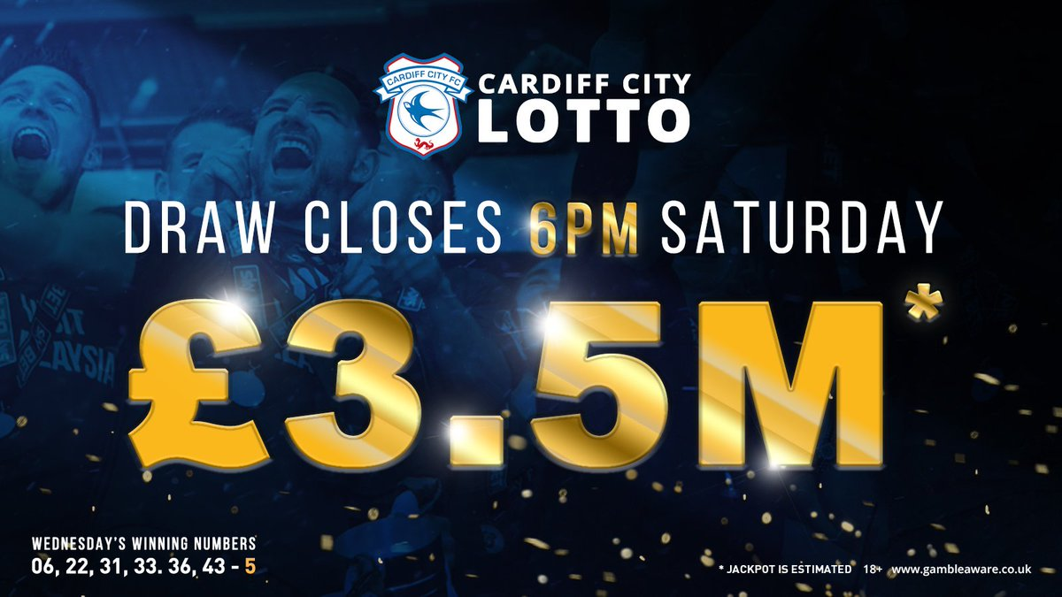 💷 Win huge cash prizes by matching 3 or more numbers in this Saturday's £3.5M jackpot draw ✔️ Dont forget that with every lotto bet you place, you help raise funds for @CF11Academy 🤞 Try your luck at: cardiffcitylotto.com/app/lotto.htm #CityAsOne 🔵⚽️🔵⚽️