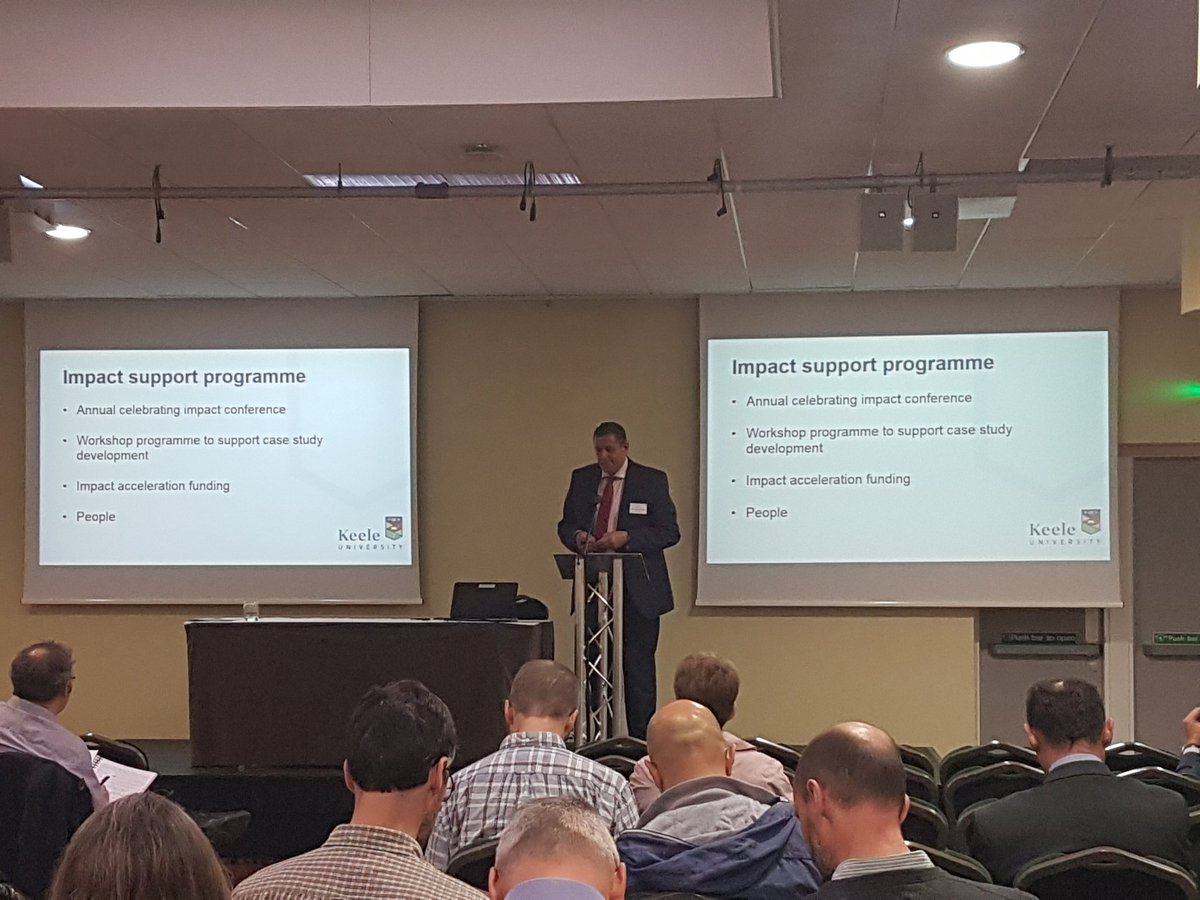 The Keele Celebrating Research Impact Conference continues with @MarkABacon discussing the investments @KeeleUniversity is making to support #researchimpact #keeleimpact<br>http://pic.twitter.com/bLMTnCI6oG