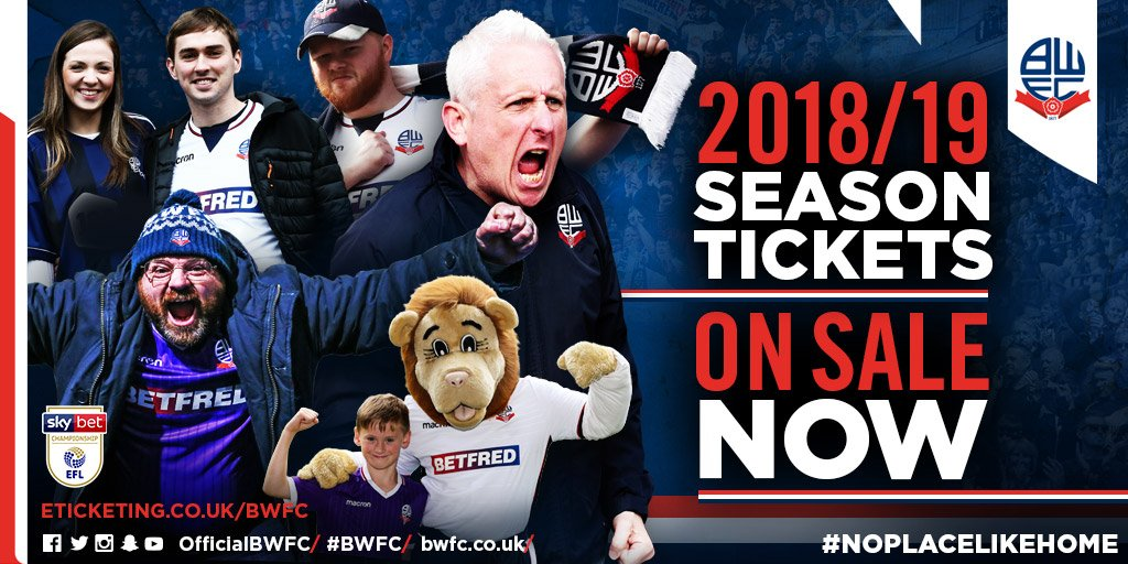 🗓️ The 2018/19 @SkyBetChamp fixtures are out! 🎫 Dont miss a minute of the action at Macron Stadium, by securing your season ticket today. Adult tickets from just £15.22 per match! Buy here 👉 eticketing.co.uk/bwfc/EDP/Seaso… #FixtureReleaseDay #NoPlaceLikeHome #BWFC 🐘 🏰