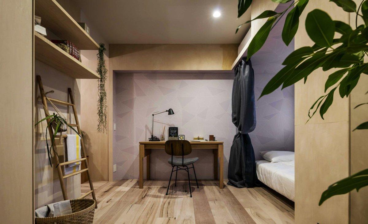 ট ইট র Houzz Japan 一面だけ壁紙の色を変えることで 空間