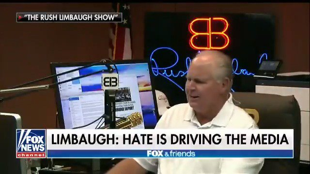 Rush Limbaugh: Hate is fueling everything in the news media today https://t.co/W5MIhfDAFg