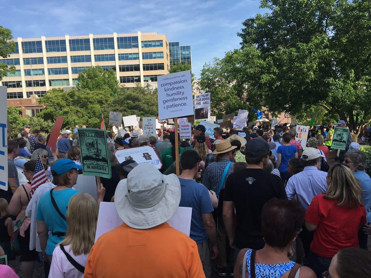 """trump visited my city yesterday  Four different protest events - all negative actions were directed at trump protesters  At my event, """"Grandmothers for Peace"""" were our security  About the time trump took the stage the wind changed and the temperature went from the 80s to the 50s <br>http://pic.twitter.com/r4WP3hwaTR"""