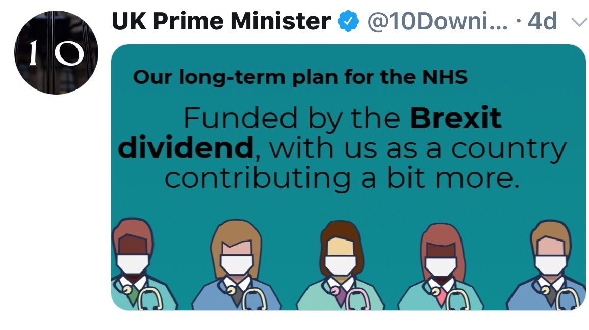 "So as I understand present position fantasist Theresa May says bulk of NHS cash boost is ""Brexit dividend""(see tweet) then says that's not quite what she said,Philip Hammond will likely say it will fall on taxpayer & warns NHS boost will leave no more money for schools or police"
