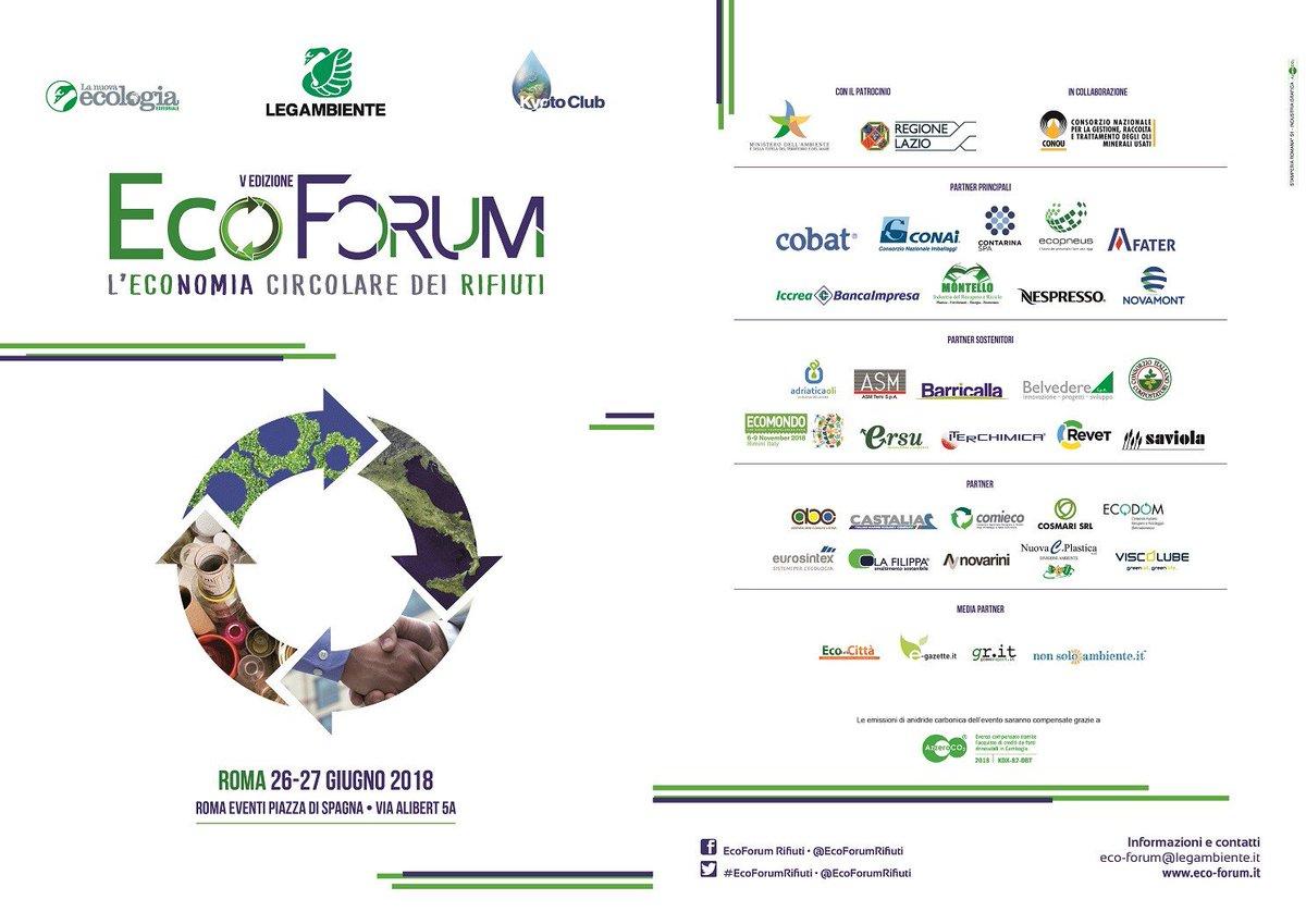 """Il 27 giugno #Iterchimica parteciperà al convegno """"#GPP e #CAM come motori della #circulareconomy"""", che si terrà a Roma durante @EcoForumRifiuti. L\"""