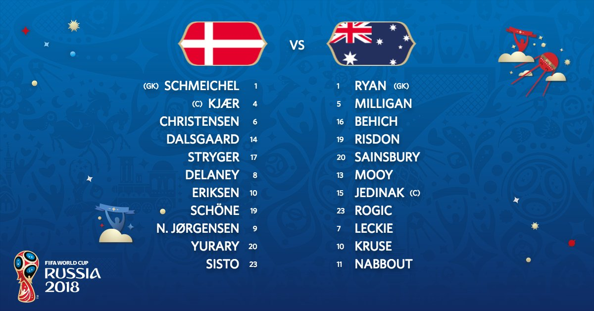 Onzes da Dinamarca e Austrália.  #DENAUS #WorldCup https://t.co/znDqia6aeG