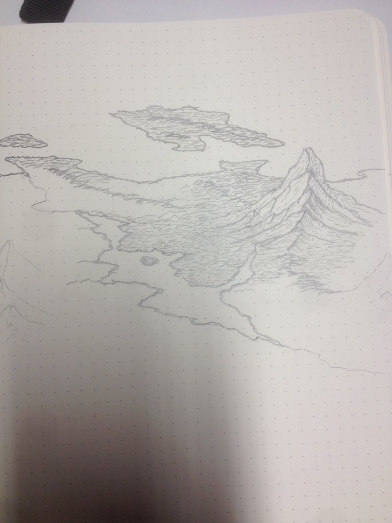 Trying my hand at a master&#39;s technique and I&#39;m not there yet, definitely #map #carte #cartography #pencil #dnd #fantasy #rpg #jdr #fantasymap #sketching #mountains #jungle <br>http://pic.twitter.com/XvwQLS1LwJ