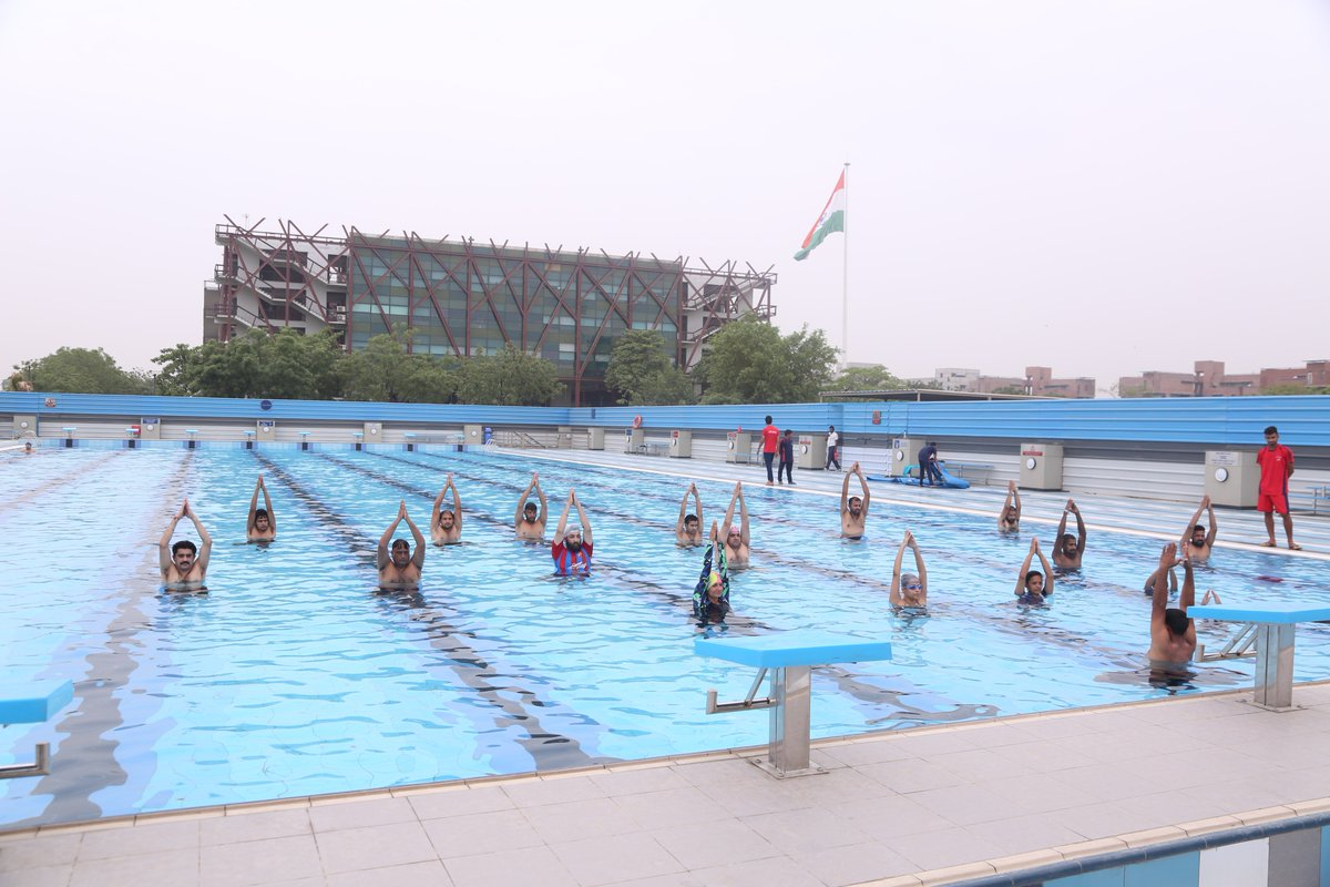 Aqua-yoga class on World Yoga Day at OP Jindal Global University (Credit: Twitter/ Jindal Global)