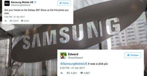 Samsung only needed 1 emoji to destroy this guy's dick pic joke. https://t.co/0SuNH9PbS6 https://t.co/H5IVe3yKyF
